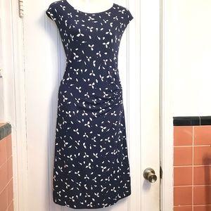 NWT LOFT Printed Midi Capsleeve Dress